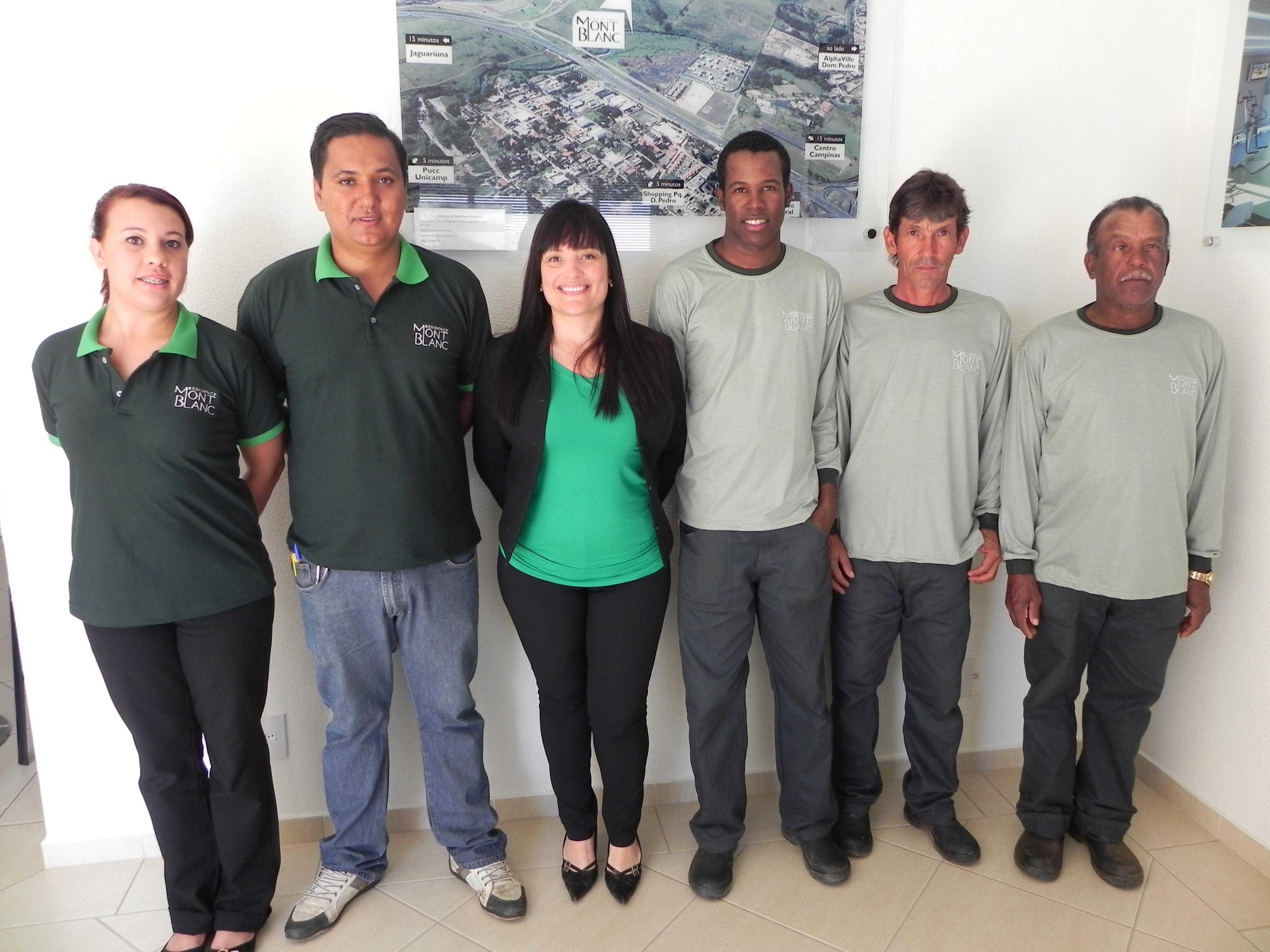 Patrícia (atendente), Ademir (zelador), Sandra (gerente), Alessandro (lider de jardinagem), José Venâncio (tratorista) e Osmil (auxiliar de jardinagem)
